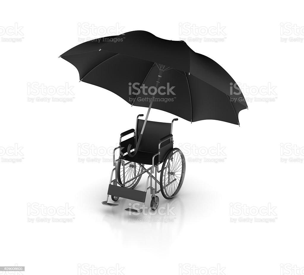 Wheelchair with Umbrella - 3D Rendering stock photo