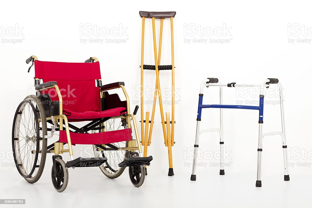 Wheelchair,crutches and Mobility aids. isolated on white stock photo