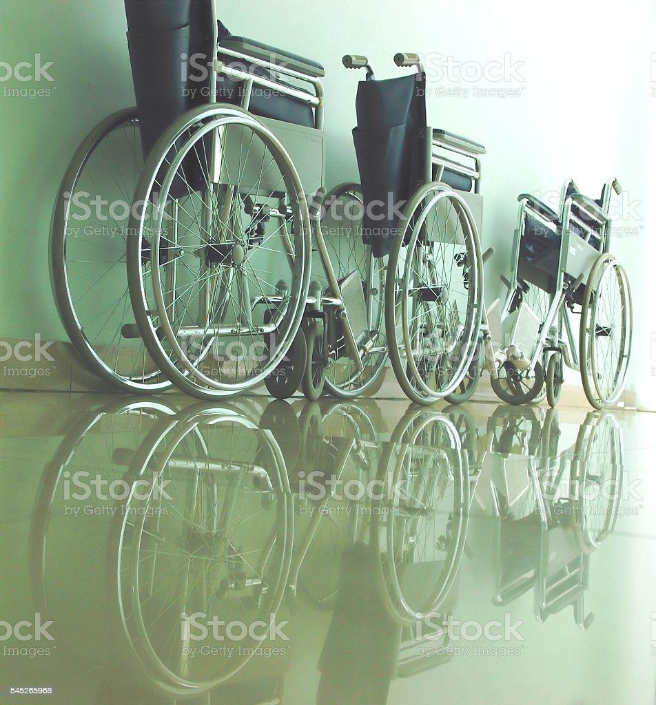Wheelchairs in a dark corridor foto de stock libre de derechos