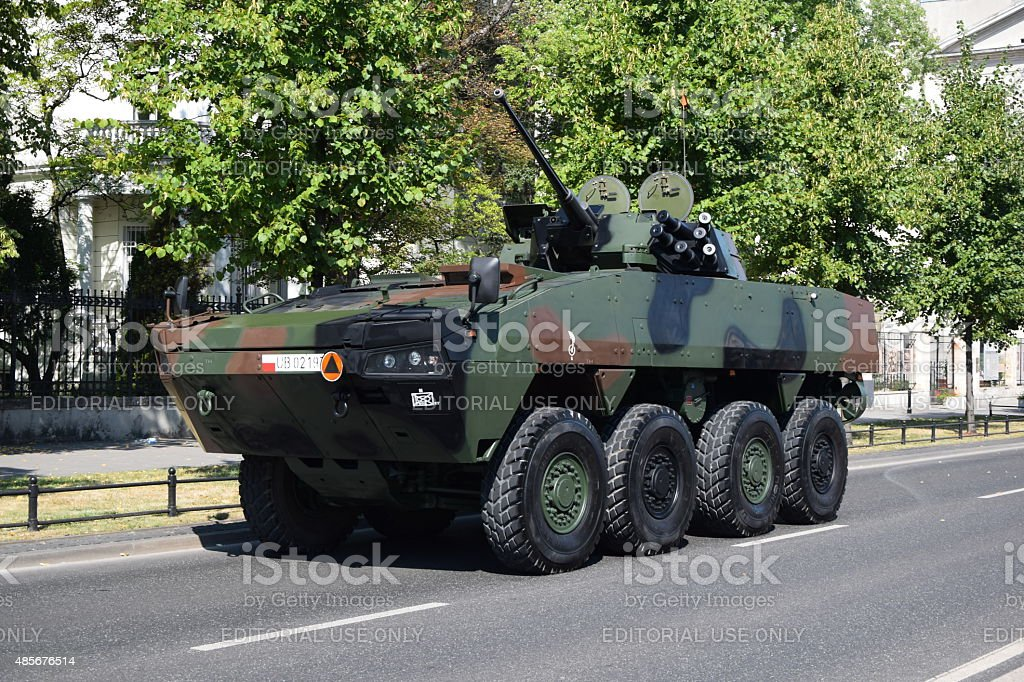 Wheeled armored vehicle on the street stock photo