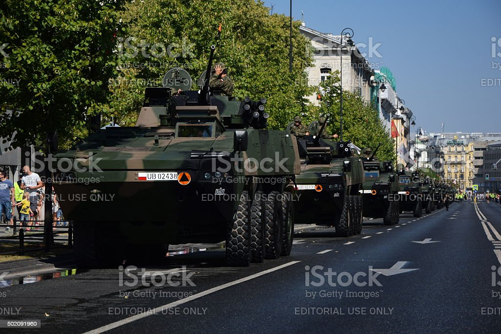 Wheeled armored vehicles in a row stock photo