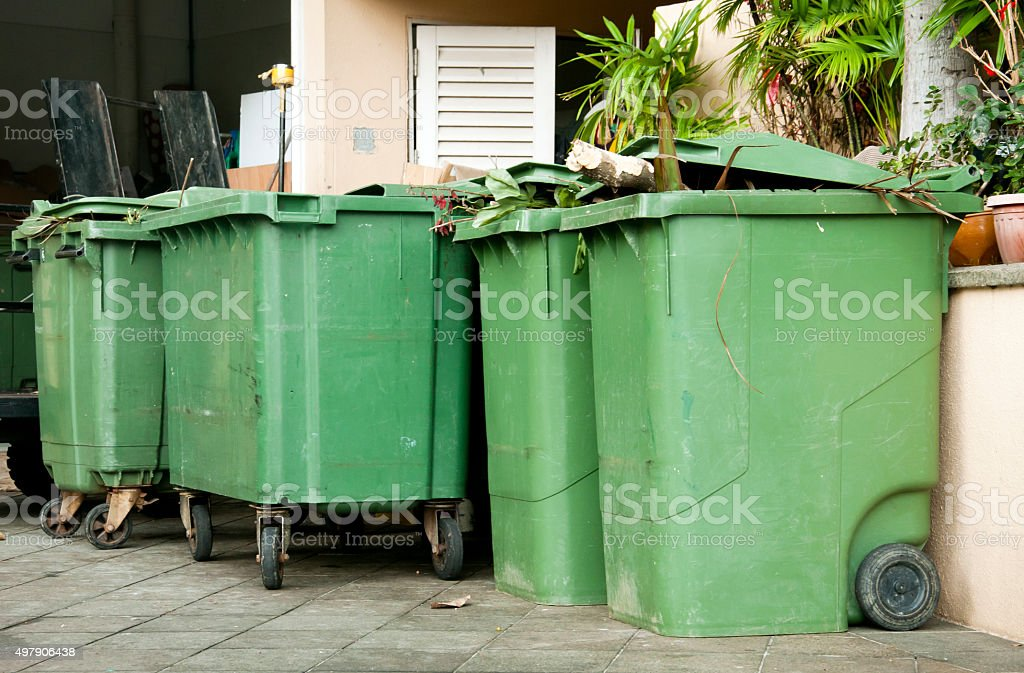 Wheeled garbage cans stock photo
