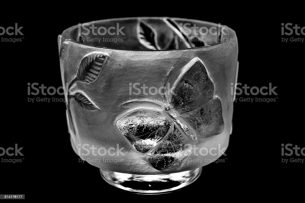 Wheel-engraved glass showing final phase of butterfly metamorphosis stock photo
