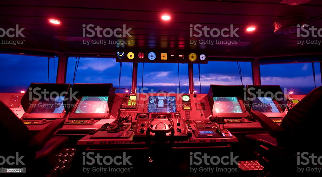 Wheelhouse in modern ship - Bridge stock photo