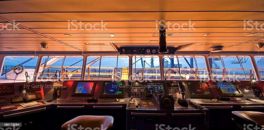 Wheelhouse in modern ship - Bridge stock photo