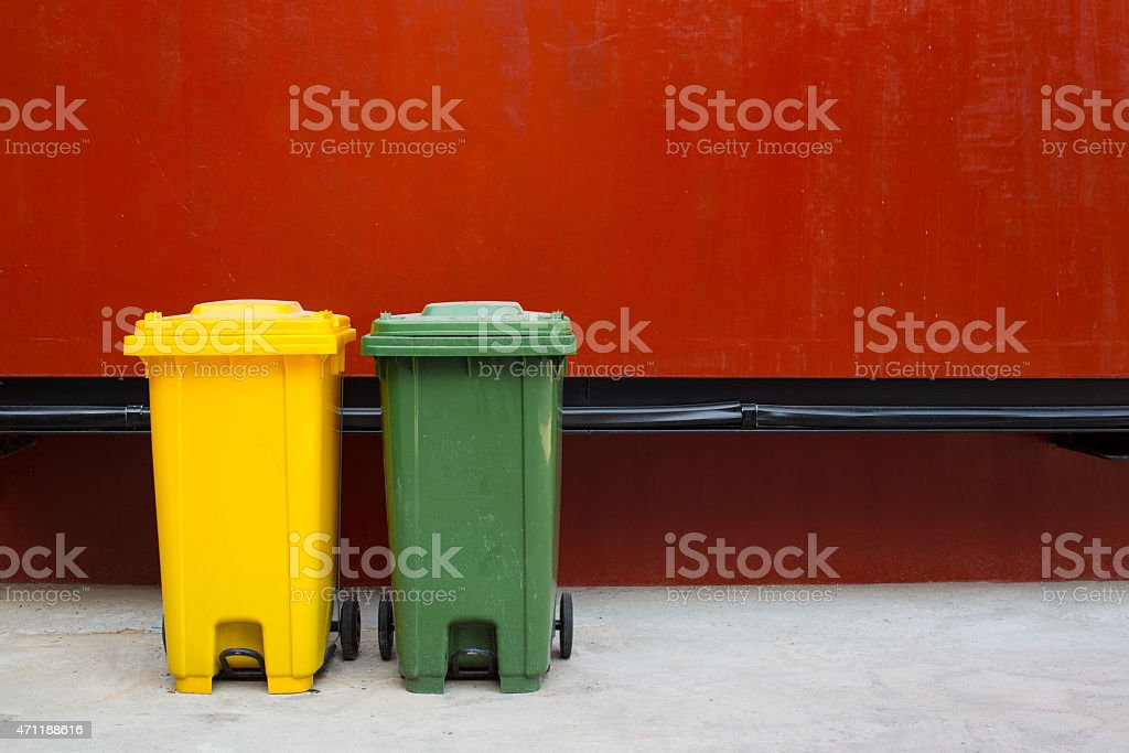 wheelie bins for rubbish, recycling and waste stock photo