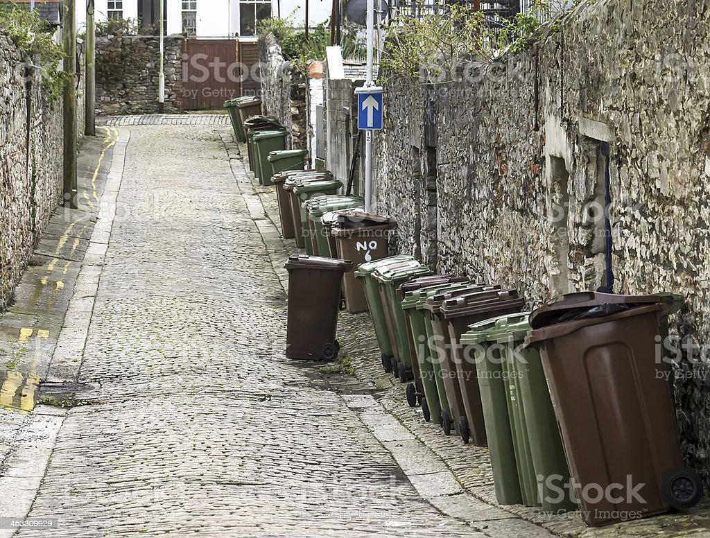 wheelie bins on English Street stock photo