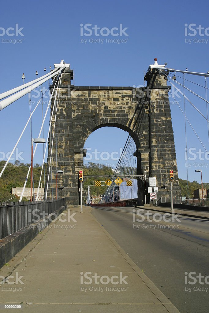Wheeling Suspension Bridge 3 stock photo