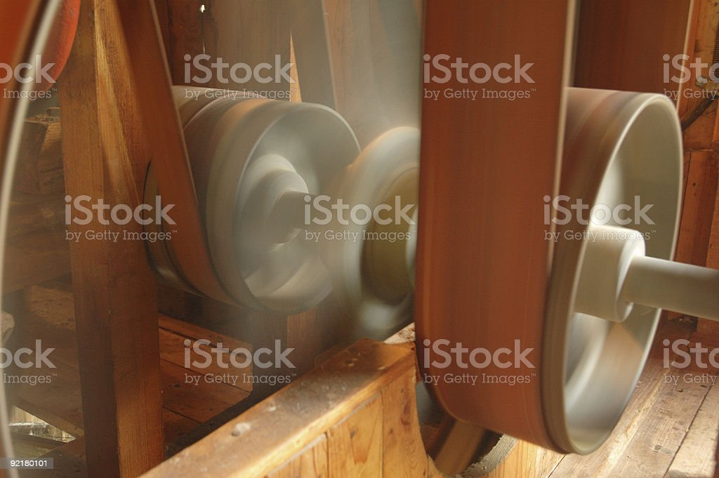 Wheels and transmission belts in movement royalty-free stock photo