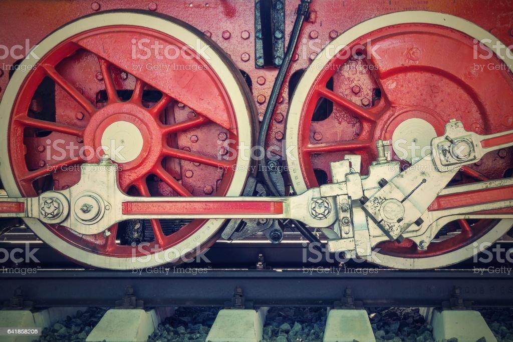 wheels closeup vintage locomotive of red color stock photo