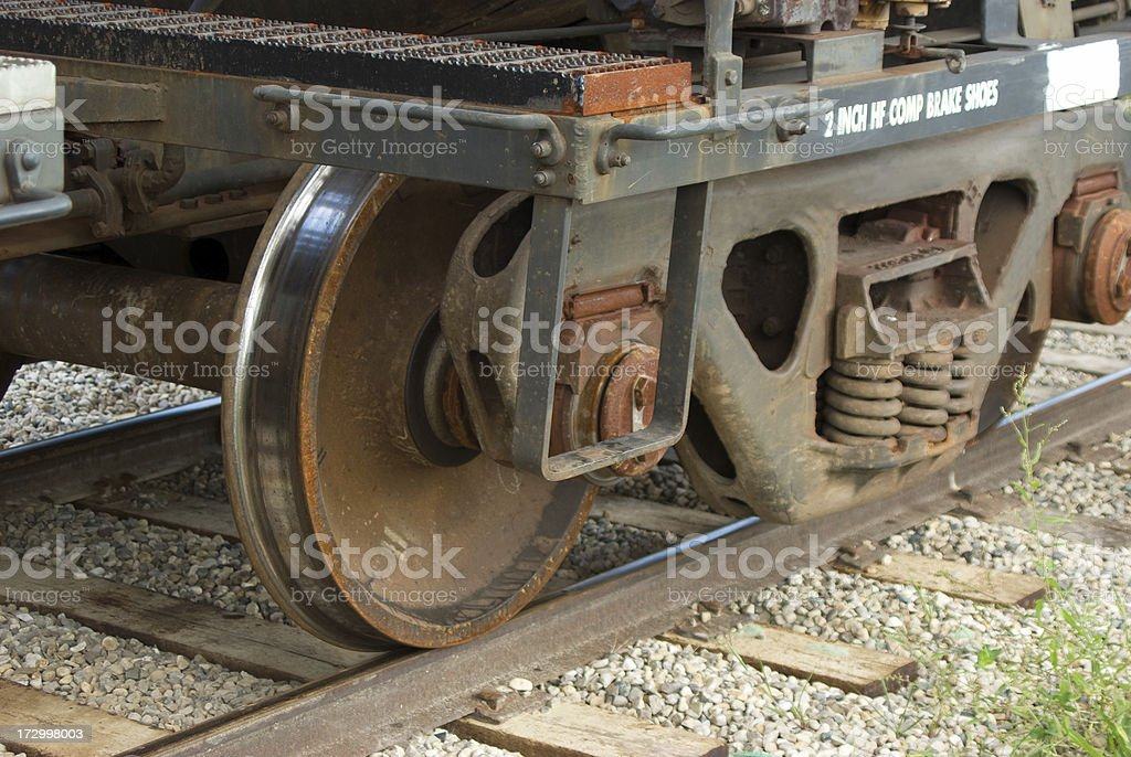 Wheels of a railway car. royalty-free stock photo