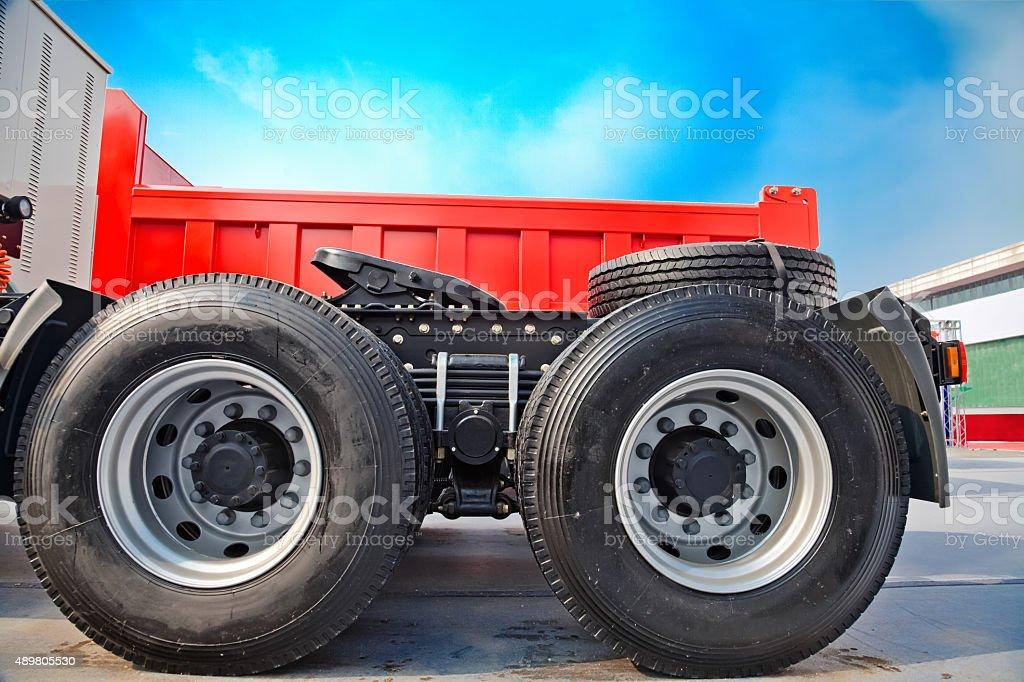 Wheels of a Semi-trailer truck stock photo