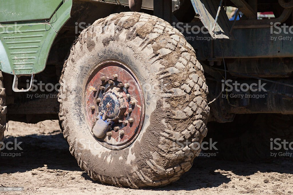 wheels of a truck stock photo