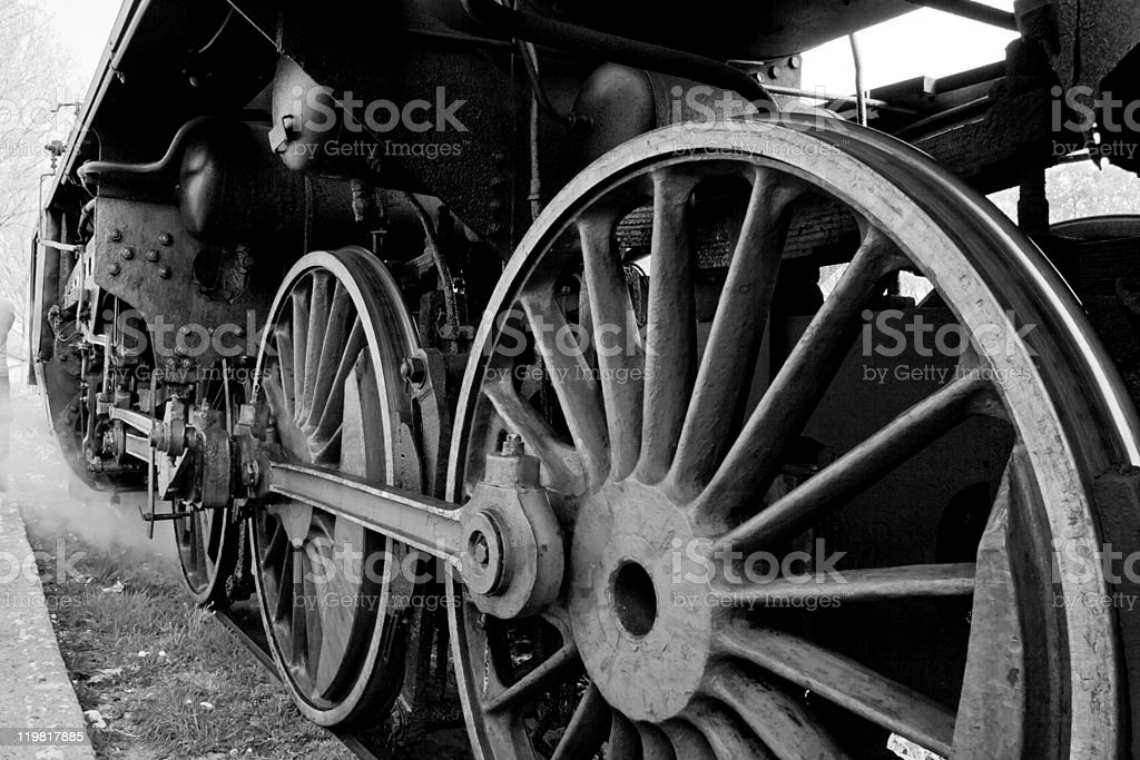 Wheels of an old steam locomotive royalty-free stock photo