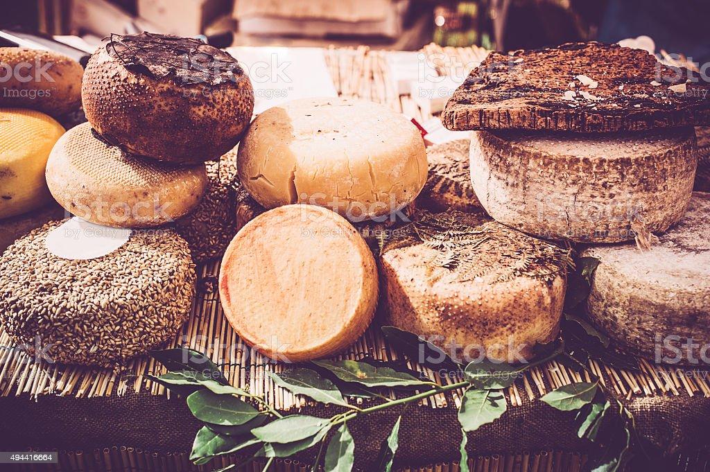 Wheels of Cheese stock photo