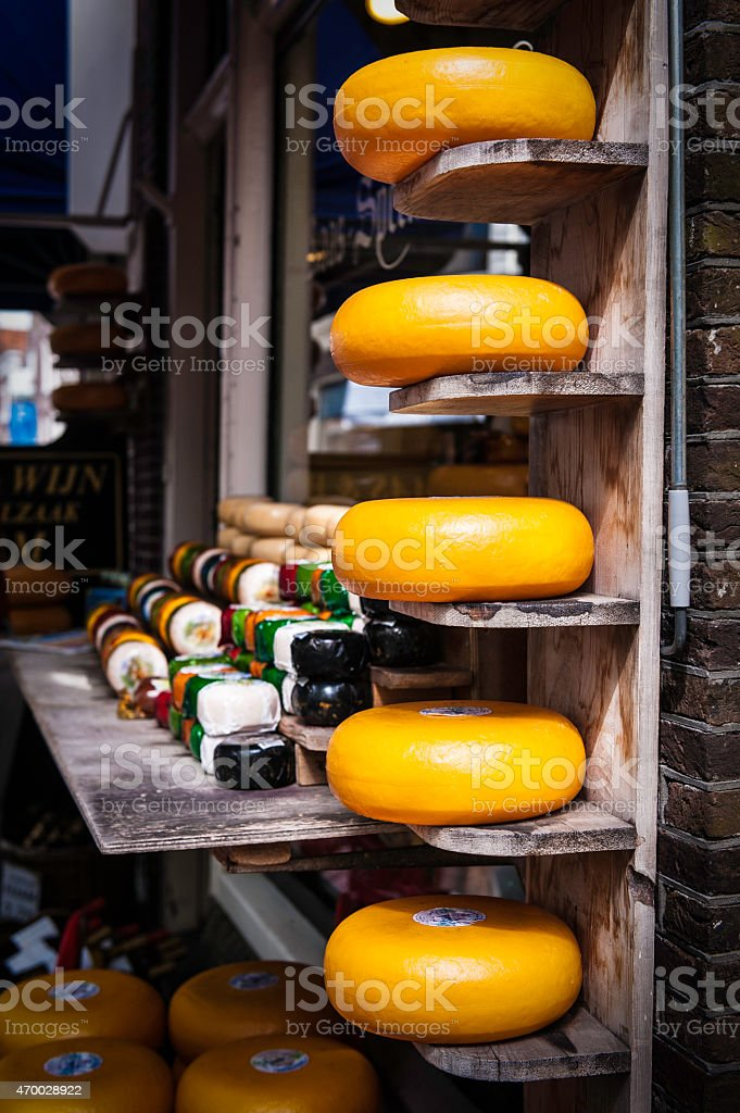 Wheels of Edam Cheese for Sale in Edam, Netherlands stock photo