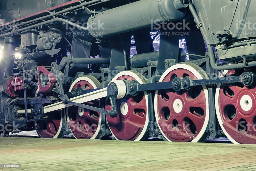 Wheels of locomotive in the night royalty-free stock photo
