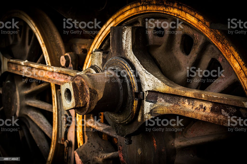 Wheels of old steam train stock photo