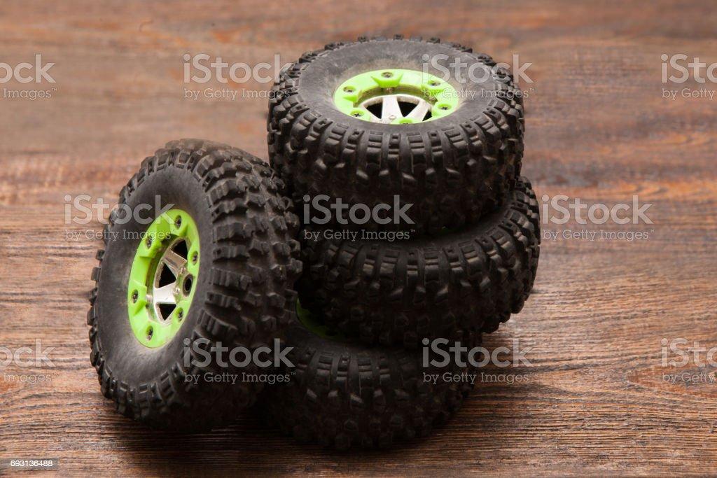Wheels of Rc crawler model toy stock photo