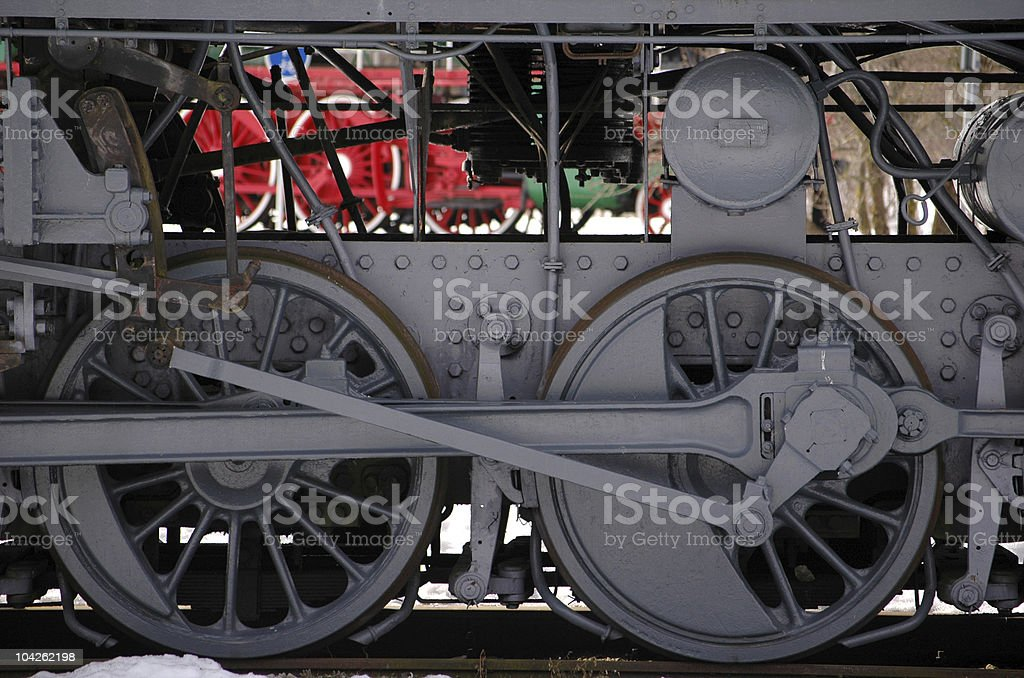 wheels of the old express steam train royalty-free stock photo