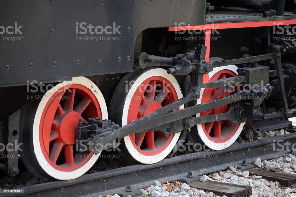 Wheels of the old locomotive stock photo