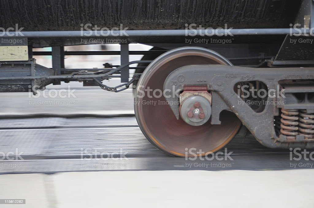 Wheels of the Train on Railroad Track royalty-free stock photo