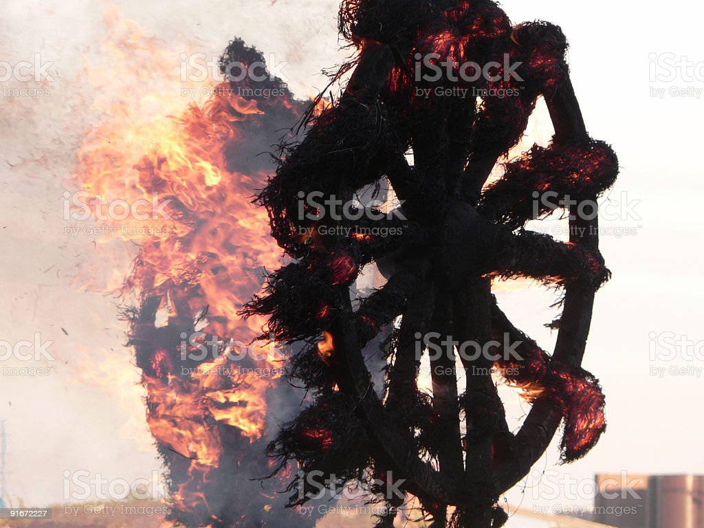 wheels on fire royalty-free stock photo
