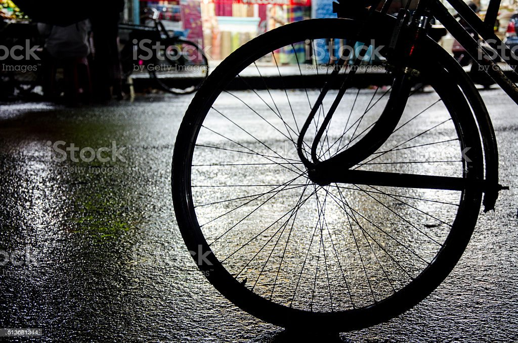 Wheels on the road stock photo