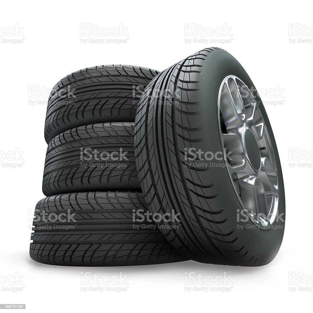 Wheels pile stock photo