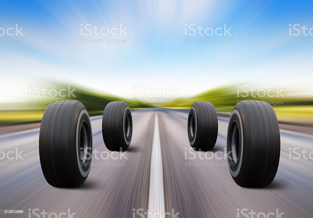 wheels rush on speed road stock photo