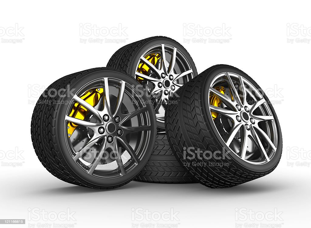 Wheels with alloy rims stock photo