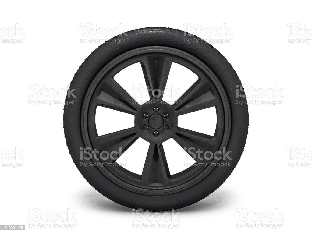 Wheels with blackened rim. 3D rendering stock photo