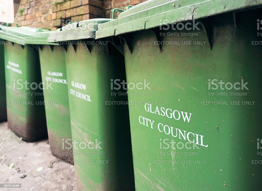 Wheelybins provided by Glasgow City Council stock photo