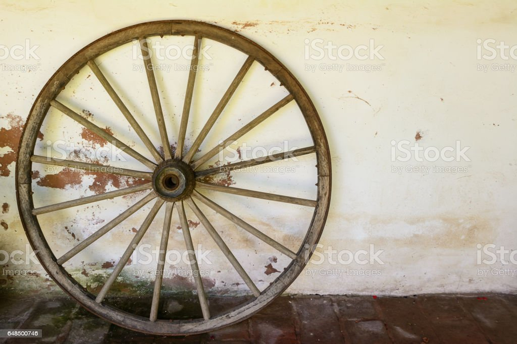 Whell of old wagon stock photo