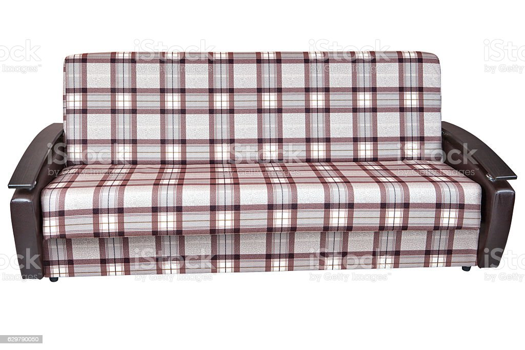 When folded, sofa bed of checkered cloth, isolated on white stock photo