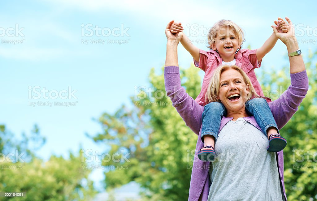 When grandparents arrive, so does fun stock photo