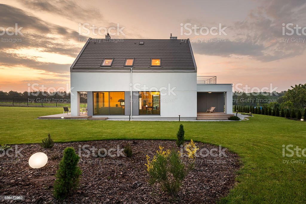 When modern architecture meets nature... stock photo