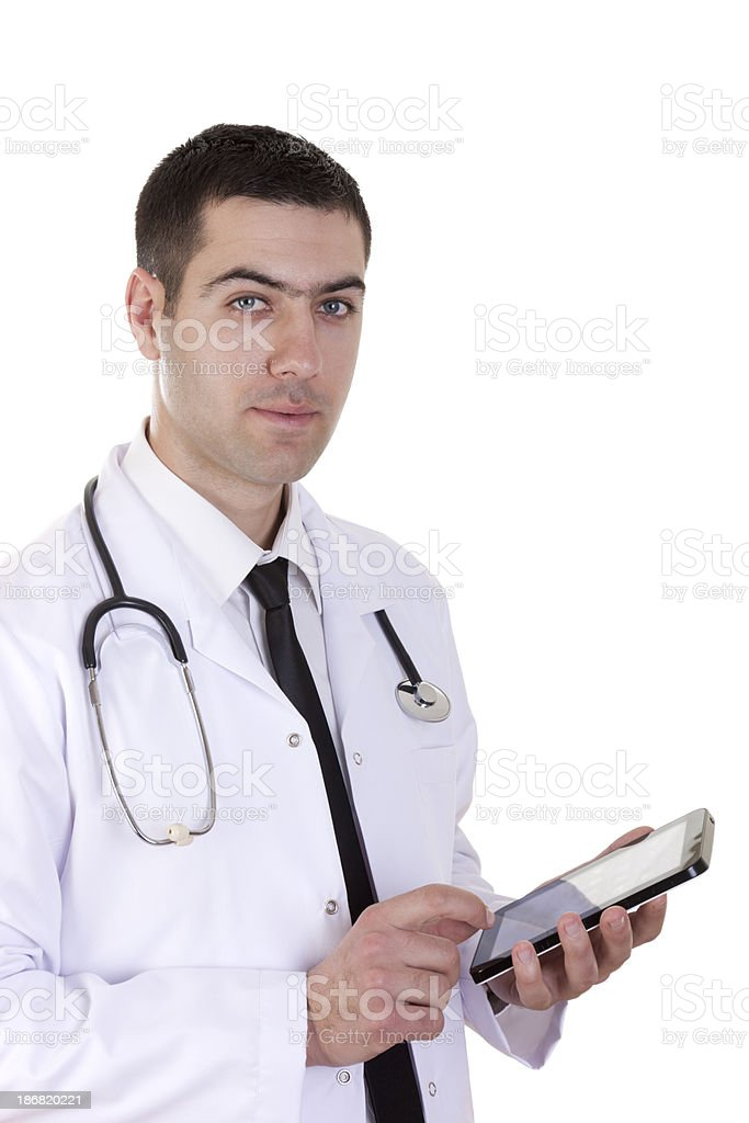 When reading the digital tablet doctor prescribed royalty-free stock photo