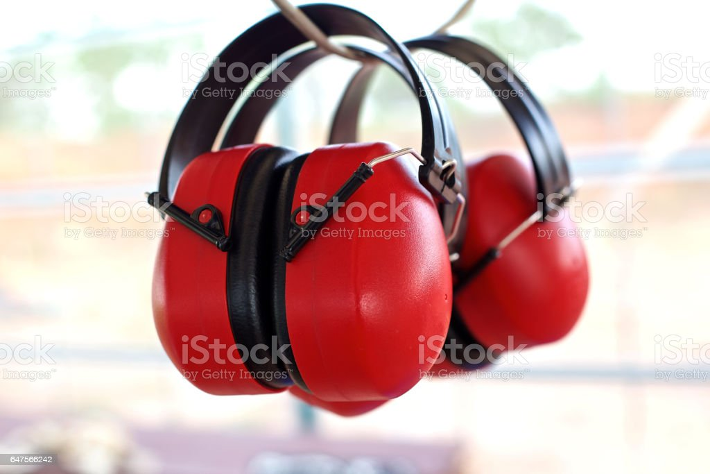When shooting earmuffs stock photo