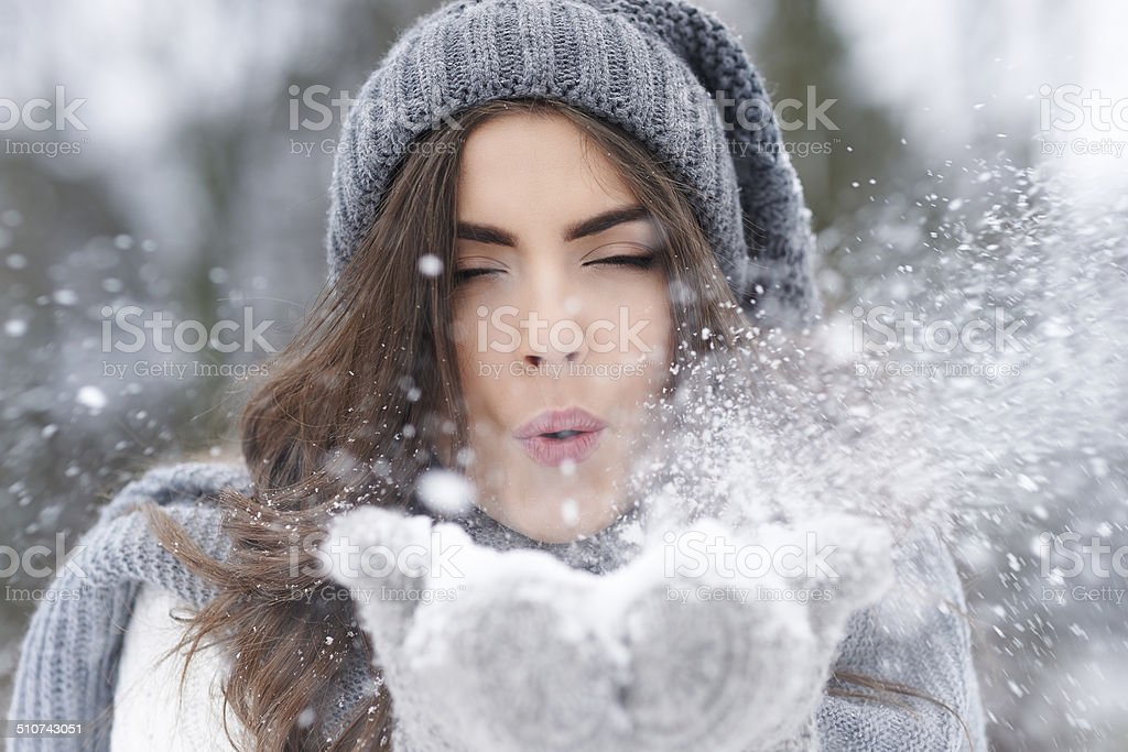 When snow falls everyone feel like a kid stock photo