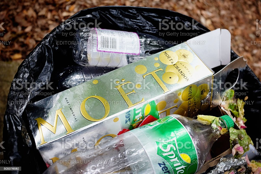 When the party's over: discarded Moet et Chandon champagne carton stock photo