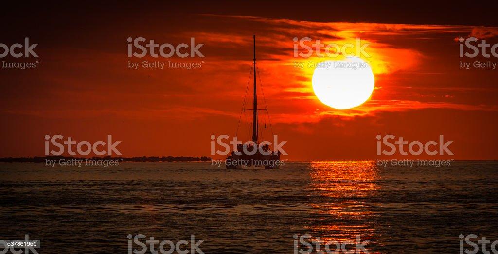 When the Sun Meets the ocean stock photo