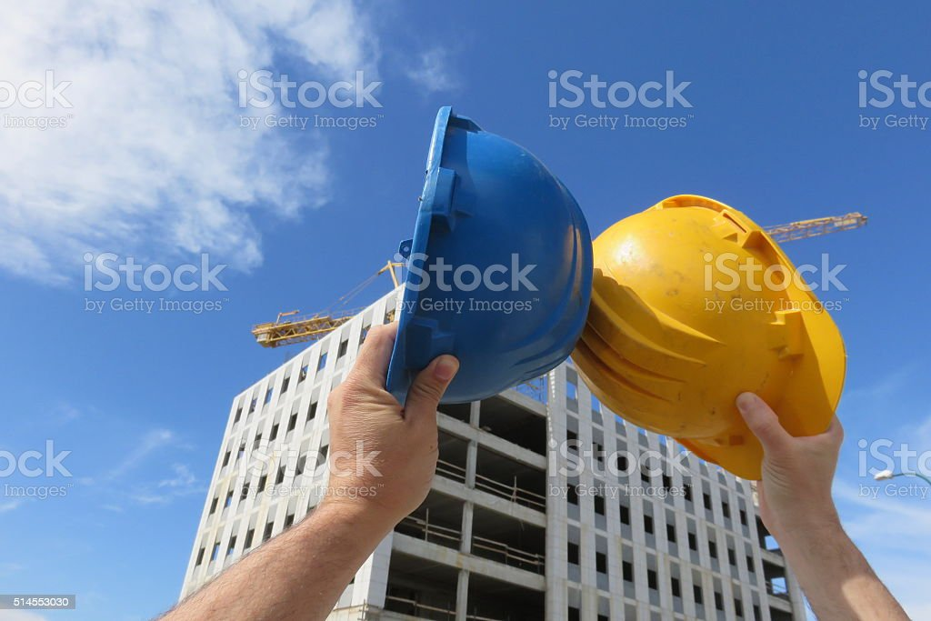 When two professionals shaking hands stock photo
