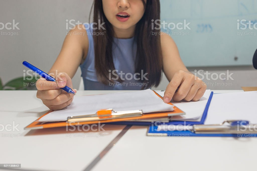 When you suddenly found a mistake while doing test stock photo