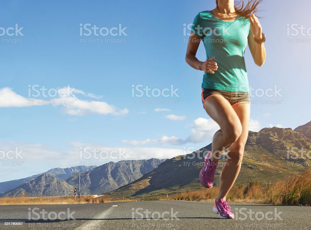 When your legs are tired, run with you heart stock photo