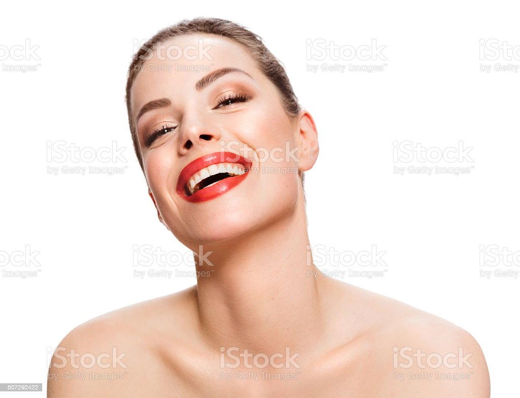 When you're happy, your skin shows it stock photo