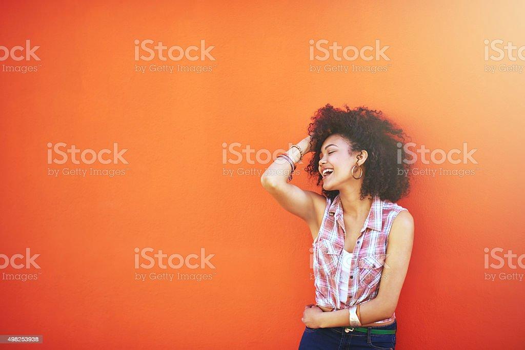 When you're laughing you're living stock photo