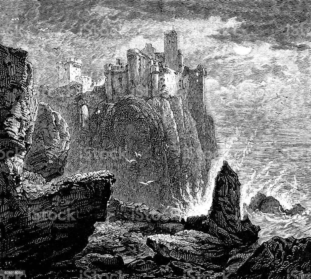 Where Alva's Turrets Rise - Bryon Poem, Oscar of Alva stock photo