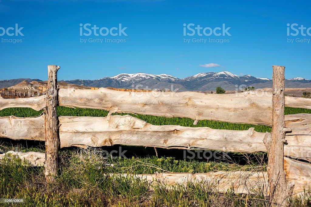 Where farm and mountains meet spring time stock photo