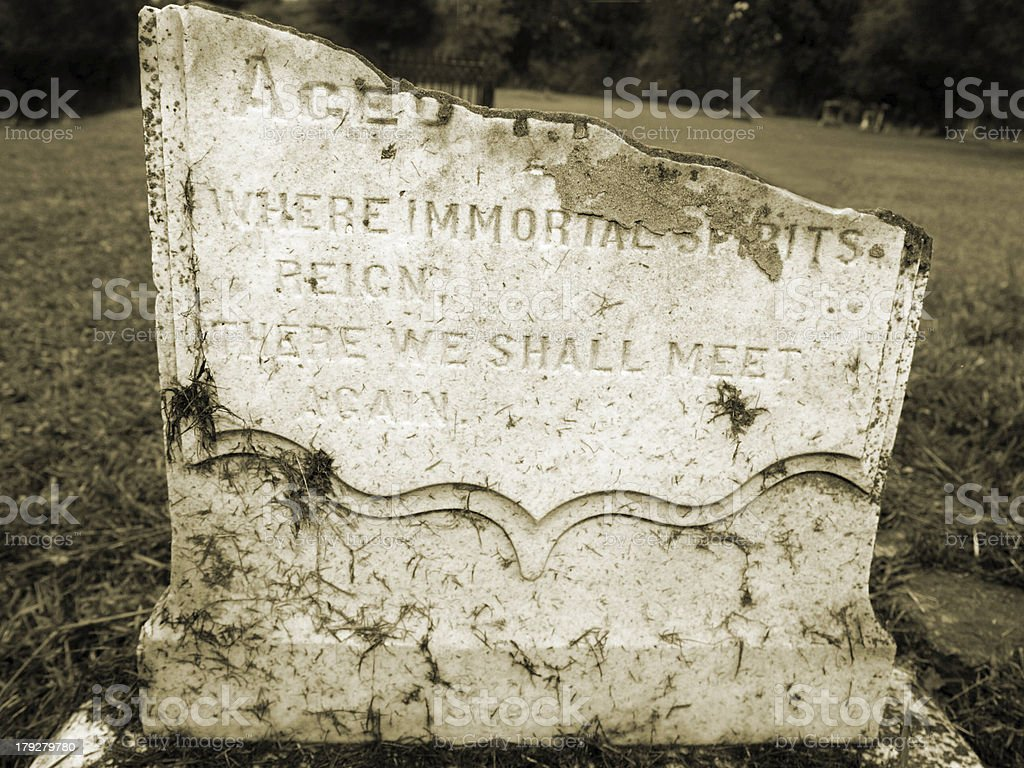 Where Immortal Spirits Reign Tomb Stone (black and white photo) royalty-free stock photo
